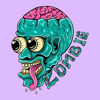 脳のtシャツのデザインイラストとカラフルなゾンビ