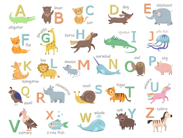 Colorful zoo alphabet with cute animals flat illustration set.