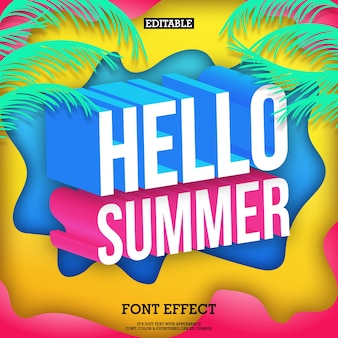 Colorfull 3d hello summer poster