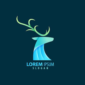 Colorfull abstract deer geometric logo  blue color. premium