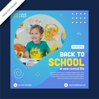 Colorfull back to school square banner instagram social media post