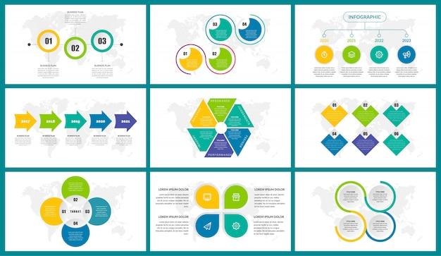カラフルなビジネスインフォグラフィック要素設計バンドルセット