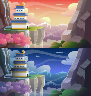 Colorfull cartoon asian castle on mountains peak at evening and night time. vector illustration