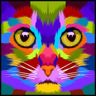 Colorfull close up cat premium