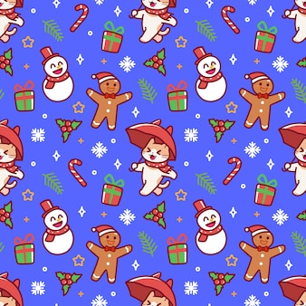 Colorfull cute cat christmas seamless pattern