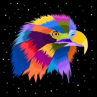 Colorfull eagle pop art vector