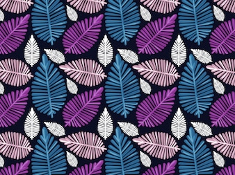 colorfull leaves seamless pattern with dark background