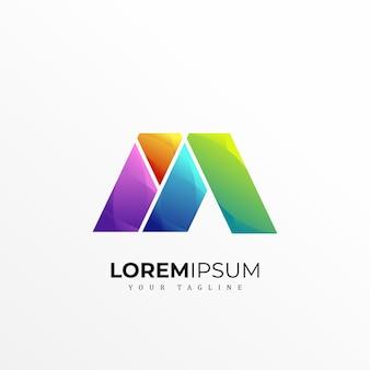 Colorfull letter m logo premium