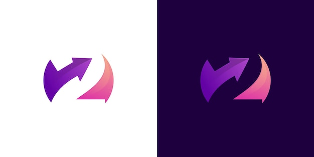 Colorfull number 2 with arrow logo vector