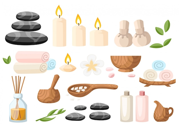 Colorfull spa tools and accessories black basalt massage stones herbs mortar rolled up towel oil gel and candles  illustration on white and blue background