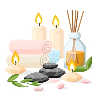 Colorfull spa tools and accessories black basalt massage stones herbs rolled up towel candles and oil  illustration on white and blue background with place for your text