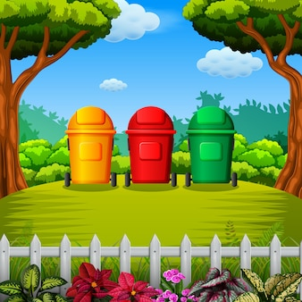 Colorfull trashbin with the garden view