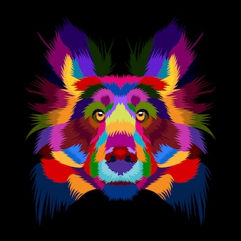 Colorfull vector of dog in pop art