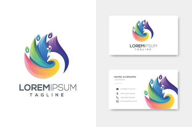 Colorfull абстрактный павлин логотип с визитной карточкой