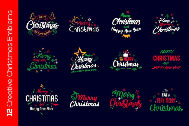 Colorfull рождественские эмблемы