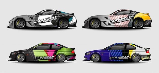 Набор автомобилей графический вектор. абстрактный colorfull с изогнутой формы фон для транспортного средства, виниловой пленкой