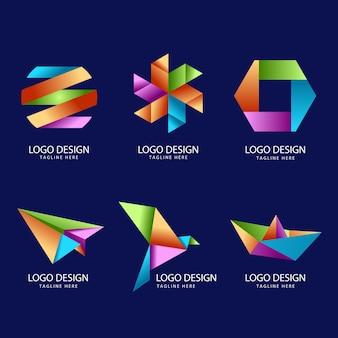 色とりどりの折り紙セットロゴデザイン