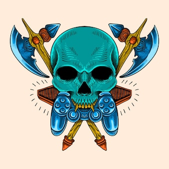 Colorfult shirt design skull and game weapon illustration
