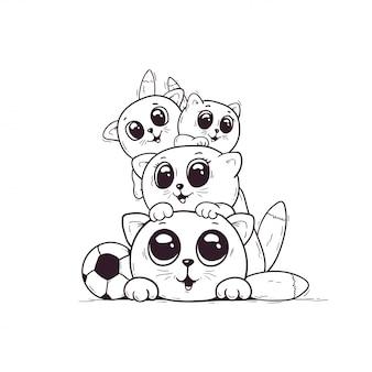 많은 귀여운 새끼 고양이 색칠