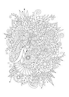 着色。抽象的な花。