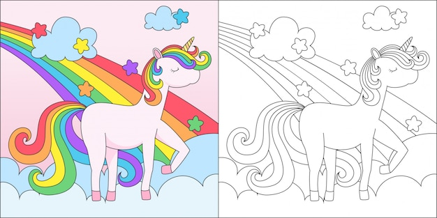 Coloring adorable unicorn