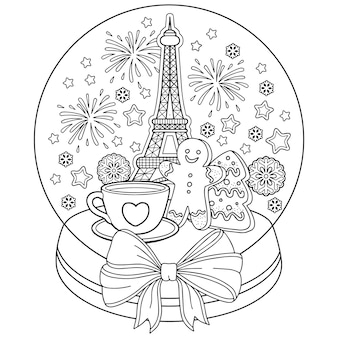 Coloring for adults, snow globe with eiffel tower