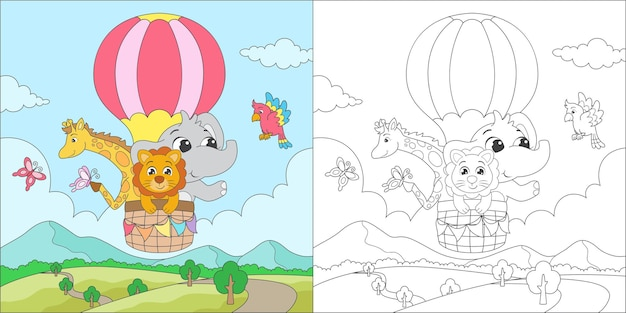Coloring animal riding an air balloon