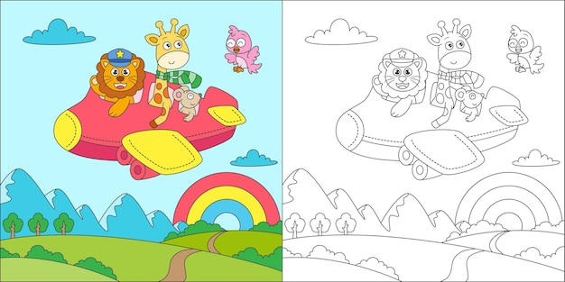 Coloring animals flying with airplane