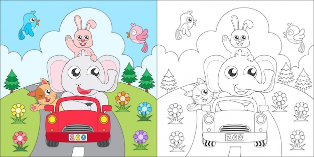 Coloring animals riding a car