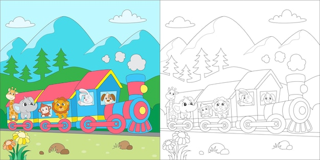 Coloring animals riding a train