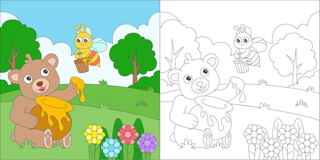 Coloring bear and bee illustration Premium Vector