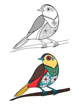 Coloring bird with doodle sample illustration