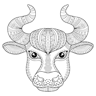 Coloring book for adult. silhouette of bull  on white background. zodiac sign taurus. aanimal print. Premium Vector