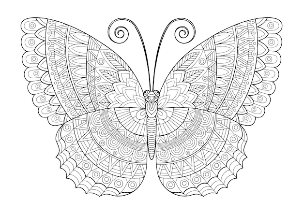 Coloring book for adults. decorative butterfly of bright colors. image for print on clothes, coloring, backgrounds