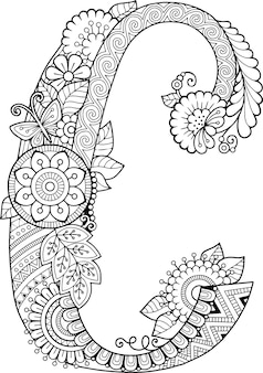 Coloring book for adults. floral doodle letter c.  hand drawn flowers alphabet.
