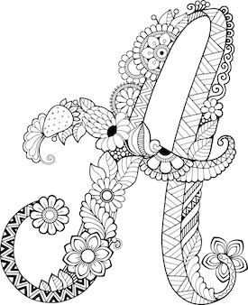 Coloring book for adults. floral doodle letter a.  hand drawn flowers alphabet.