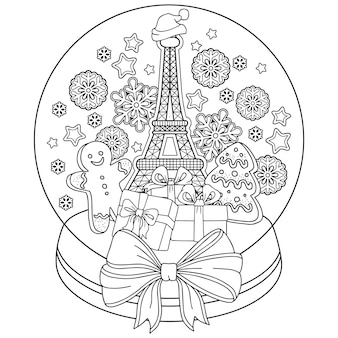 Coloring book for adults. snow globe with memories of paris. a bottle with eiffel tower, gingerbread man, cookies, coffee and snowflakes