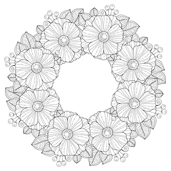Coloring book for adults. summer flowers. vector isolated elements. vector round flowers frame.