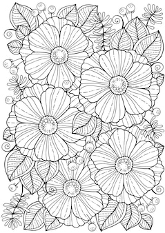 Coloring book for adults. summer flowers. vector isolated elements