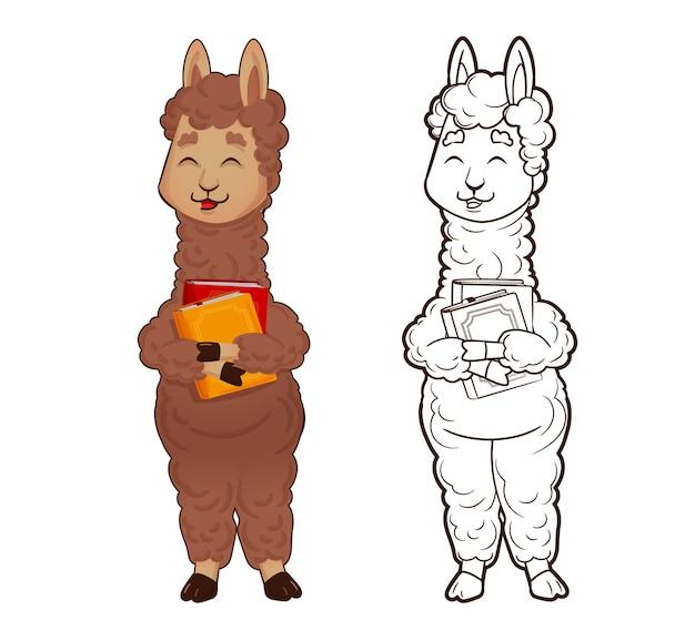 색칠하기 책: 알파카 라마는 책을 들고 있고, 동물 그림은 고립되어 있습니다. 벡터, 만화 스타일의 그림, 평면