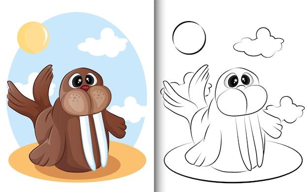 塗り絵の動物セイウチ。就学前教育幼稚園と子供と子供のために