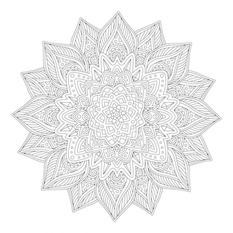Coloring book art with beautiful stylized flower
