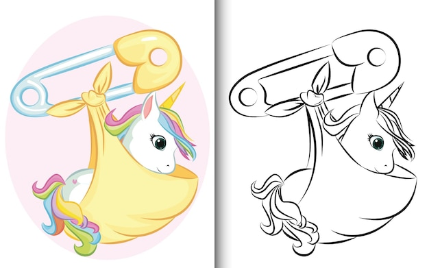 Coloring book baby unicorn with pin. for preschool education kindergarten and kids and children
