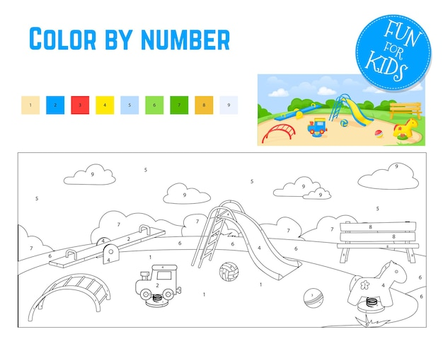 Coloring book by number for preschool kids with easy educational gaming level.
