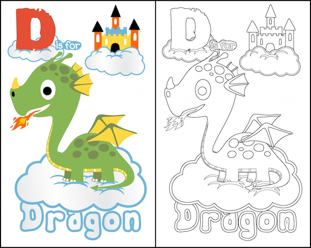 Coloring book cartoon with nice dragon