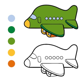 Coloring book for children, airplane