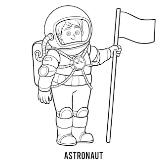 Coloring book for children, astronaut