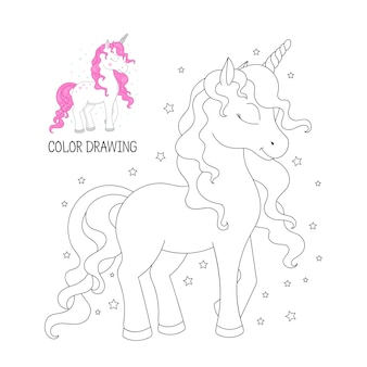 Coloring book for children. beautiful outline unicorn