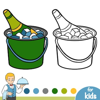 Coloring book for children, champagne in an ice bucket