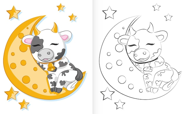 Coloring book for children cute cartoon bull is sleeping on the moon